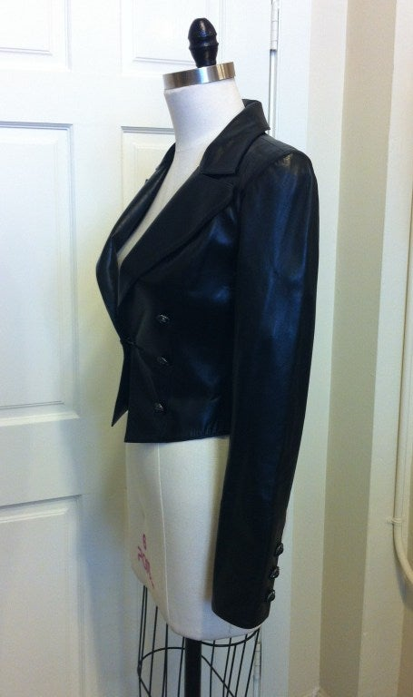 Chanel Cropped Black Leather Jacket image 2