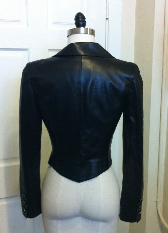 Chanel Cropped Black Leather Jacket 3