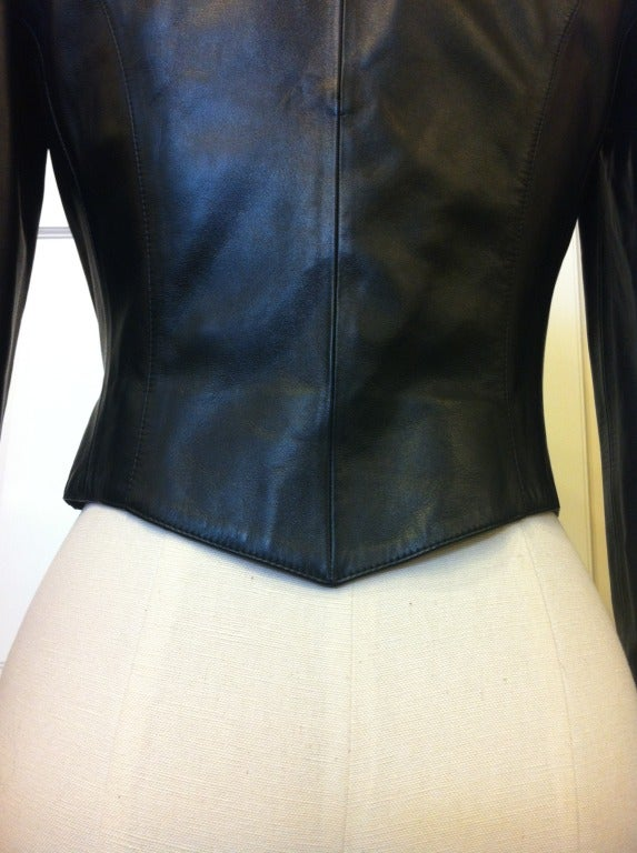 Chanel Cropped Black Leather Jacket image 7