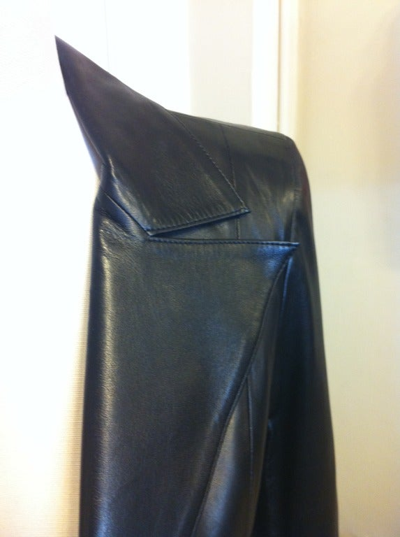 Chanel Cropped Black Leather Jacket 8