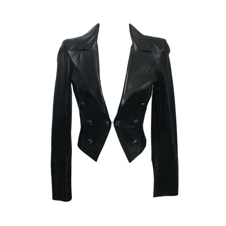 Chanel Cropped Black Leather Jacket 1
