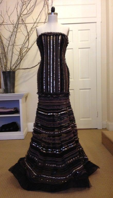 Carolina Herrera Strapless Metal Sequins Gown 2