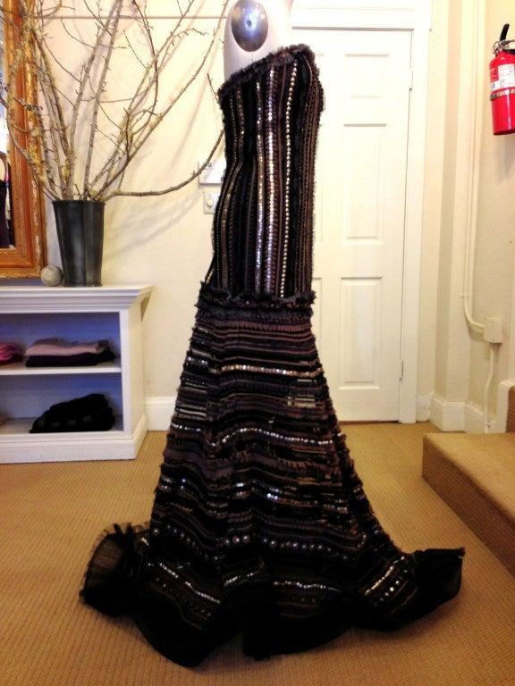 Carolina Herrera Strapless Metal Sequins Gown 6