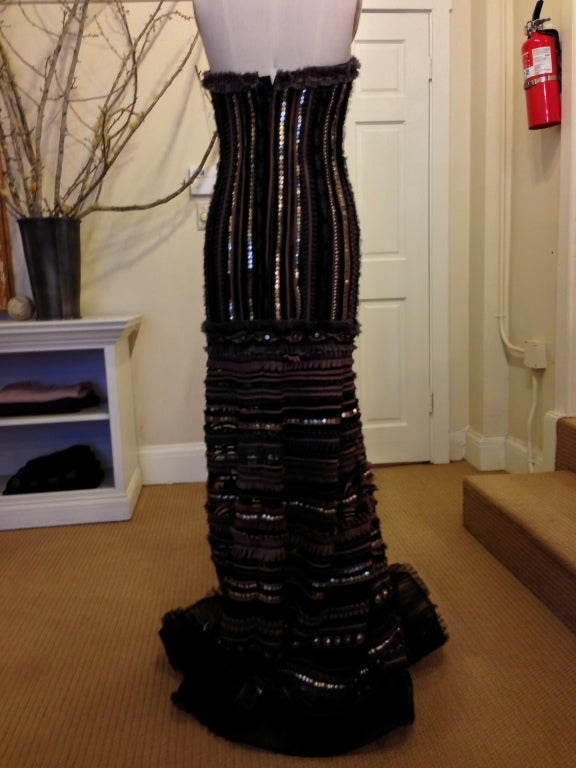 Carolina Herrera Strapless Metal Sequins Gown 8