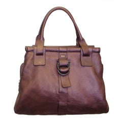 Ferragamo Large Metalic Burgundy Leather Bag