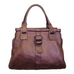 Ferragamo Large Metalic Burgundy Leather Bag