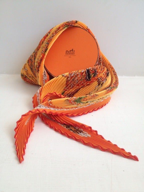 hermes orange plisse scarf at 1stdibs