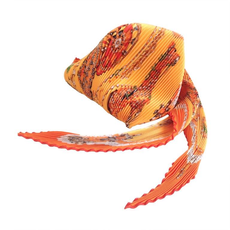 hermes orange plisse scarf