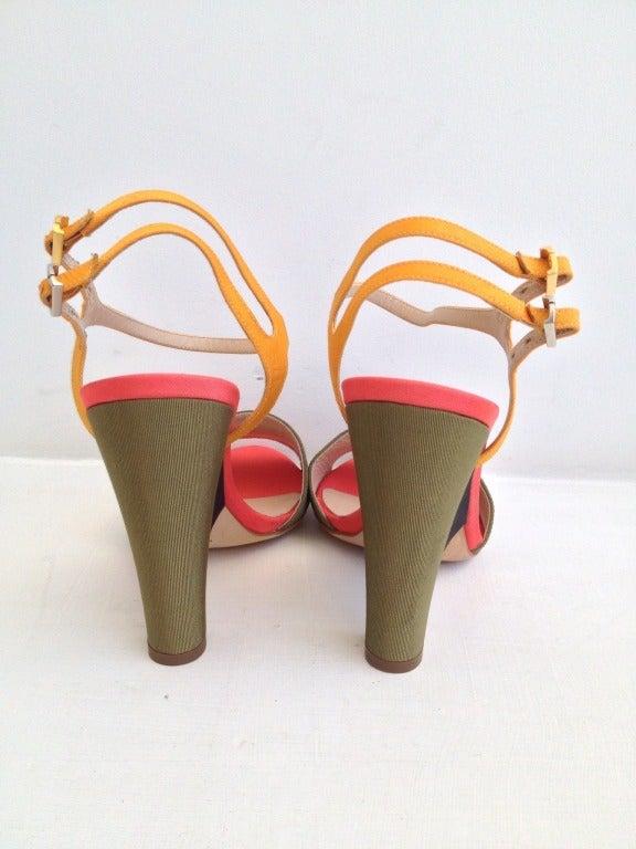 Brown Fendi Color Block Ribbed Satin Heels For Sale
