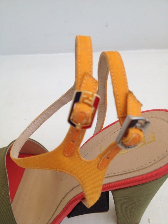 Fendi Color Block Ribbed Satin Heels In New Never_worn Condition For Sale In San Francisco, CA