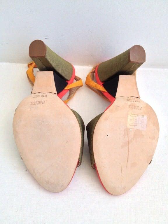 Women's Fendi Color Block Ribbed Satin Heels For Sale