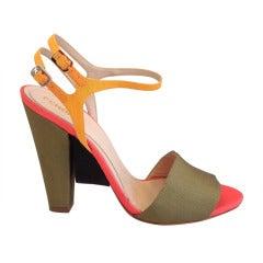 Fendi Color Block Ribbed Satin Heels
