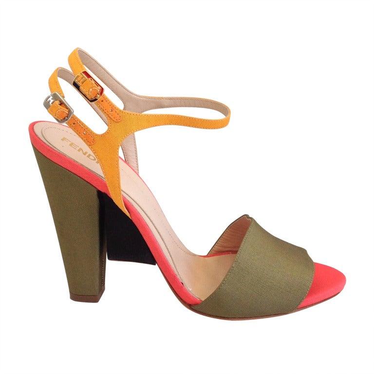 Fendi Color Block Ribbed Satin Heels For Sale