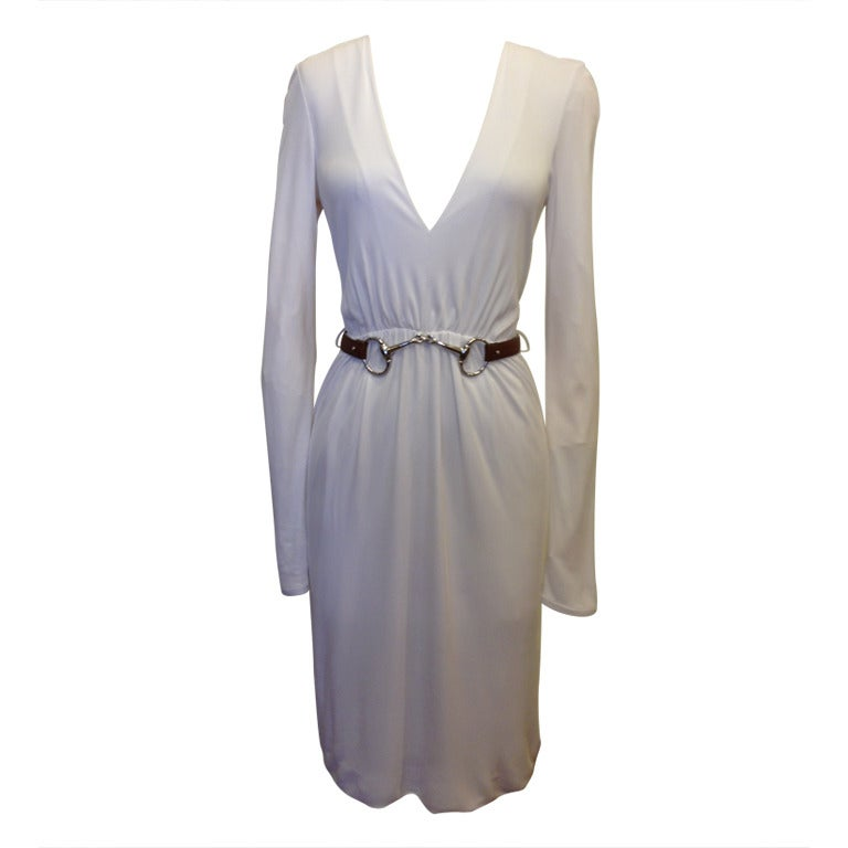 gucci white dress with silver bit belt at 1stdibs