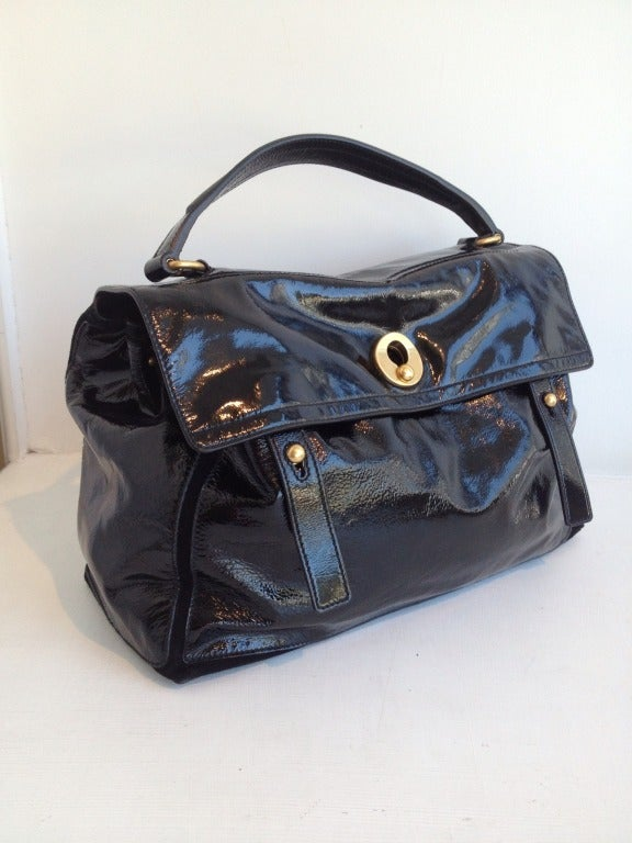 Yves Saint Laurent Black Patent \u0026quot;Muse II\u0026quot; Bag at 1stdibs