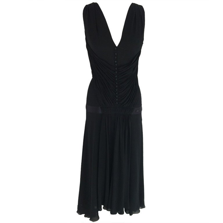 Chanel Pleated Black Gown