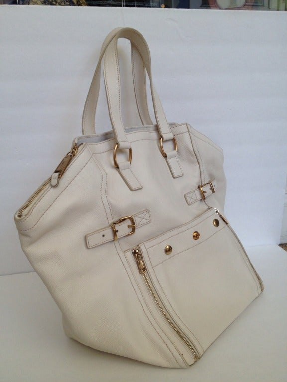 Yves Saint Laurent White \u0026quot;Downtown\u0026quot; Bag at 1stdibs