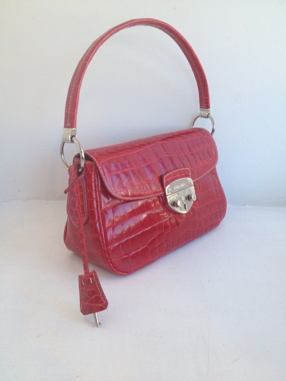 Prada Red Alligator Handbag at 1stdibs
