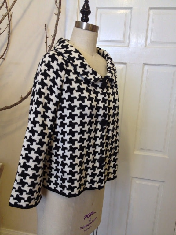 Christian Dior Black and White Houndstooth Sweater Jacket 3