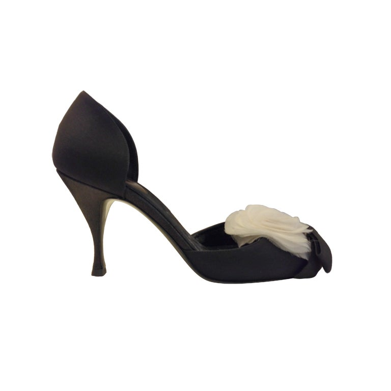 Chanel Heel With Camellia At 1stdibs