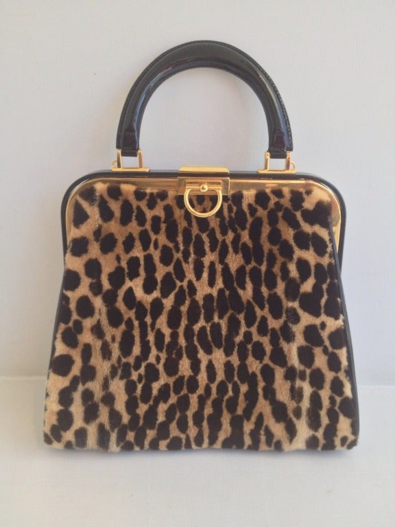 Christian Dior Leopard Print and Patent Handbag 2
