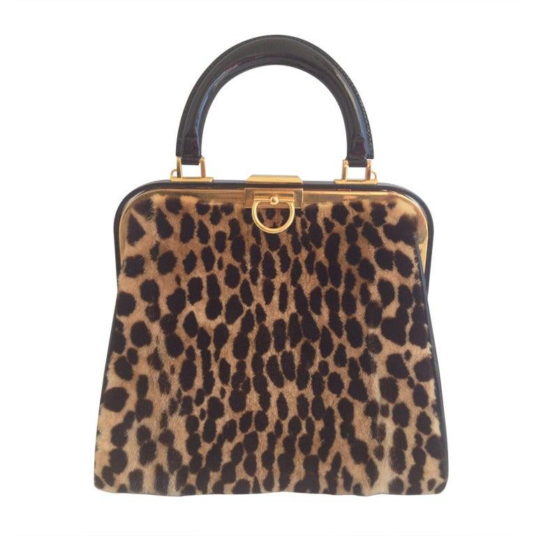 Christian Dior Leopard Print and Patent Handbag 1