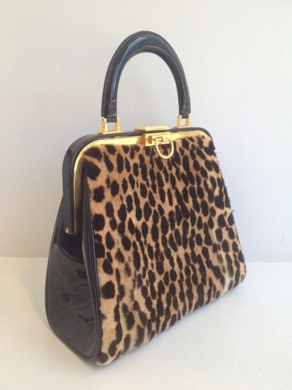 Christian Dior Leopard Print and Patent Handbag 4