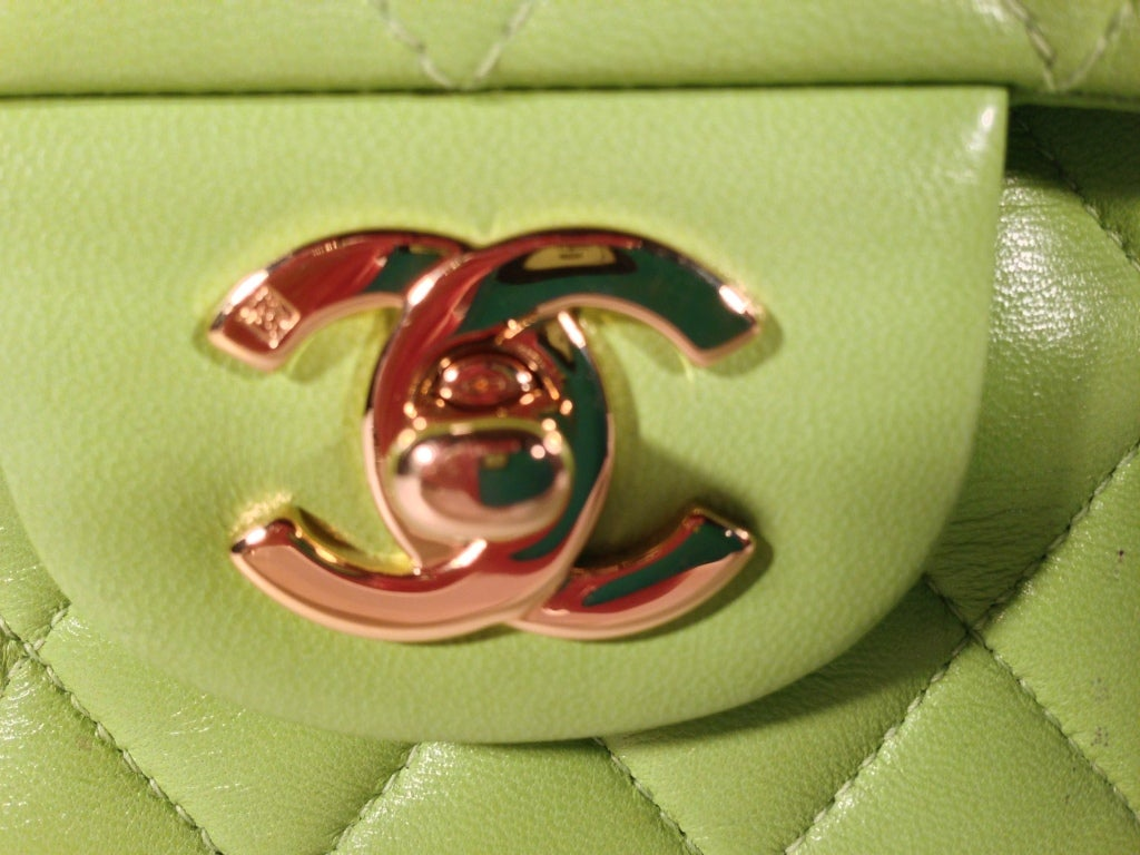 Classic Lime green Quilted Chanel Bag image 10