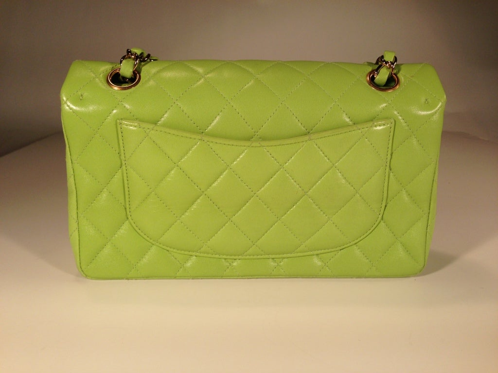 Classic Lime green Quilted Chanel Bag image 2