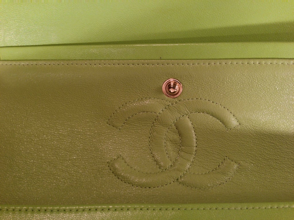 Classic Lime green Quilted Chanel Bag image 6