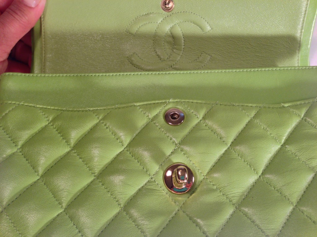 Classic Lime green Quilted Chanel Bag image 7