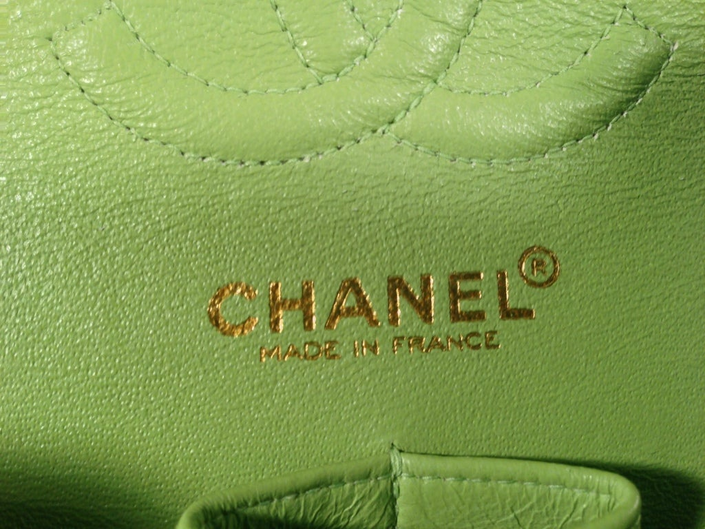 Classic Lime green Quilted Chanel Bag image 8