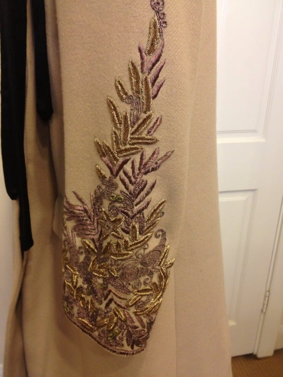 Dries Van Noten Swing Coat with Embellished Sleeves In Excellent Condition For Sale In San Francisco, CA