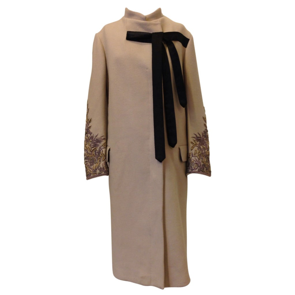 Dries Van Noten Swing Coat with Embellished Sleeves For Sale