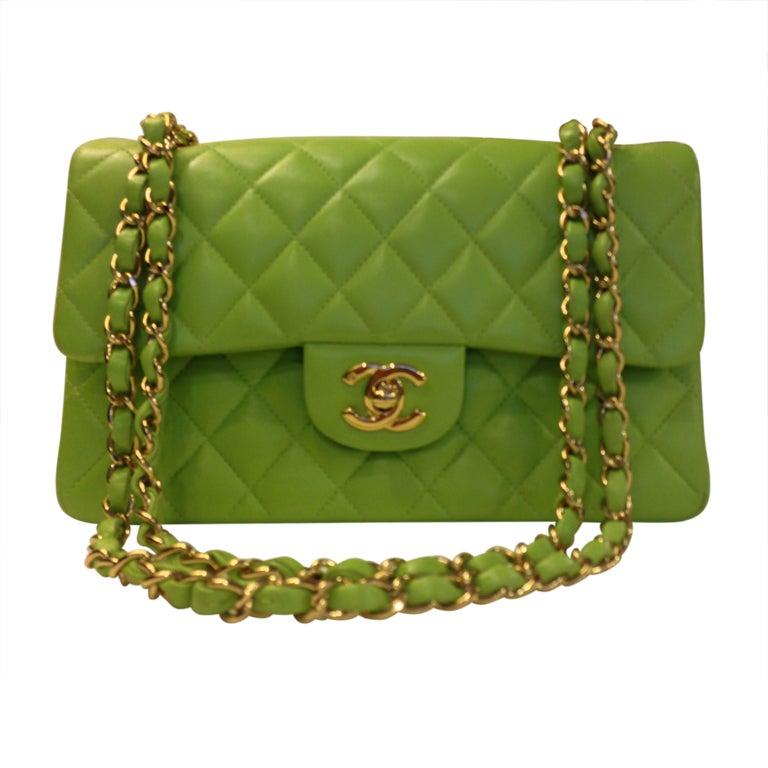 Classic Lime green Quilted Chanel Bag