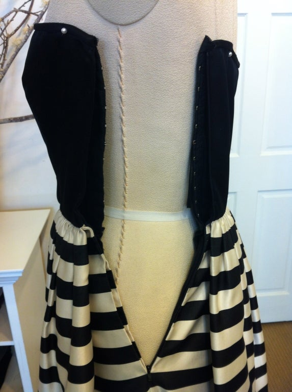 Valentino Black and White Striped Gown 4