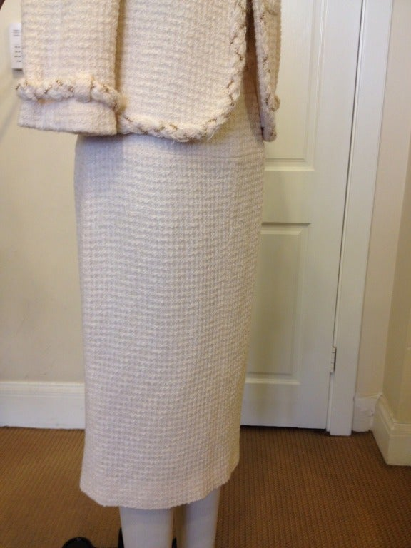 Chanel White Skirt Suit With Gold Chain Detail 5
