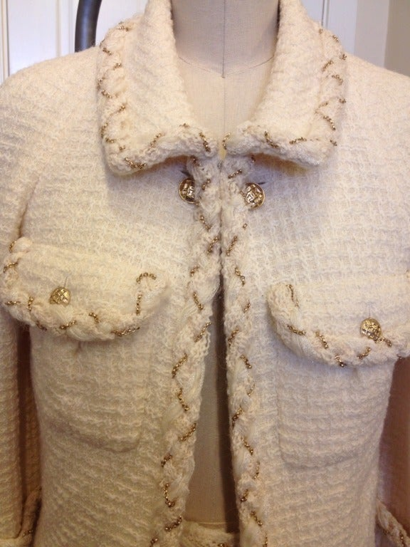 Chanel White Skirt Suit With Gold Chain Detail 6