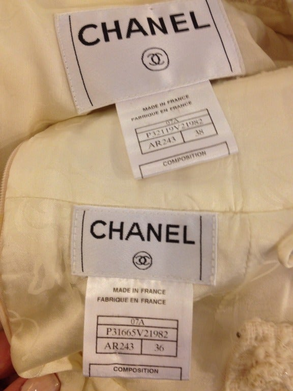 Chanel White Skirt Suit With Gold Chain Detail 7