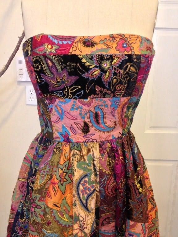Oscar de la Renta Patchwork Paisley Gown image 3