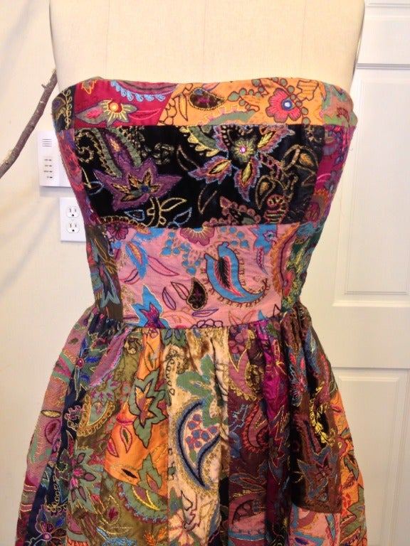 Oscar de la Renta Patchwork Paisley Gown In Excellent Condition For Sale In San Francisco, CA