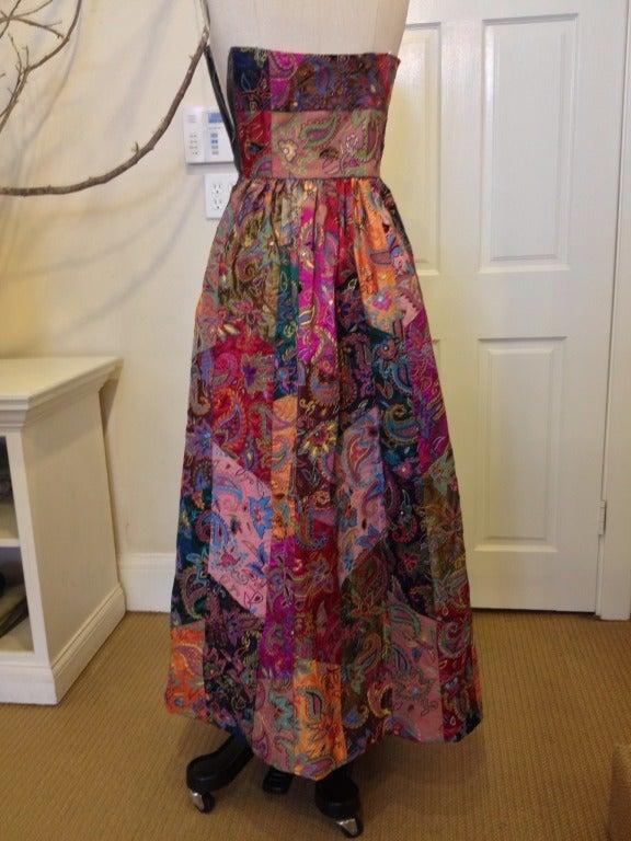Women's Oscar de la Renta Patchwork Paisley Gown For Sale