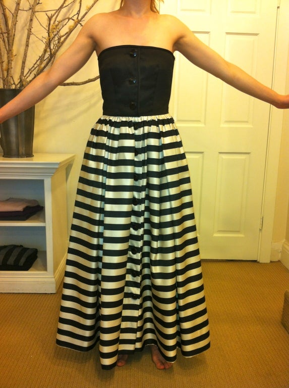 Valentino Black and White Striped Gown 2