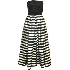 Valentino Black and White Striped Gown