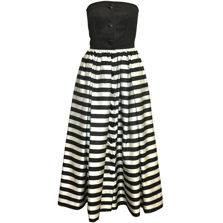 Valentino Black and White Striped Gown For Sale