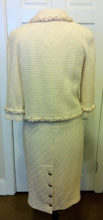 Chanel White Skirt Suit With Gold Chain Detail 2