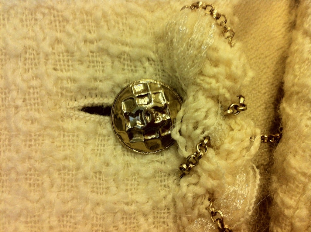 Chanel White Skirt Suit With Gold Chain Detail 8