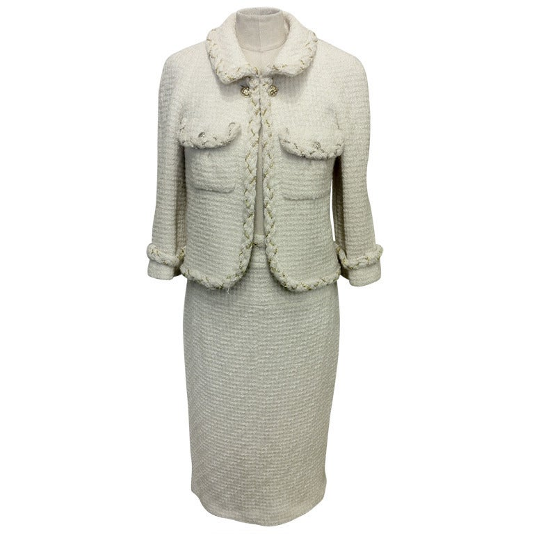 Chanel White Skirt Suit With Gold Chain Detail 1