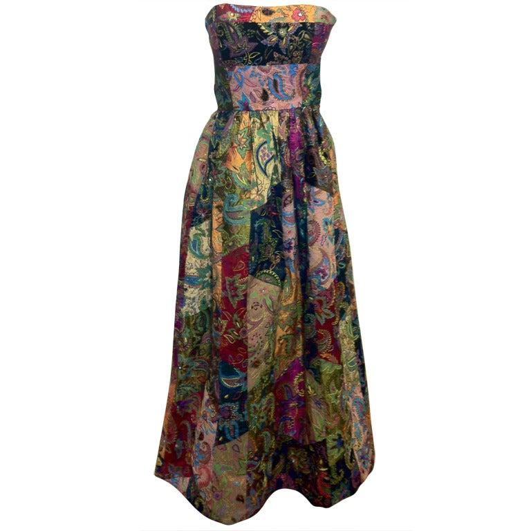 Oscar de la Renta Patchwork Paisley Gown