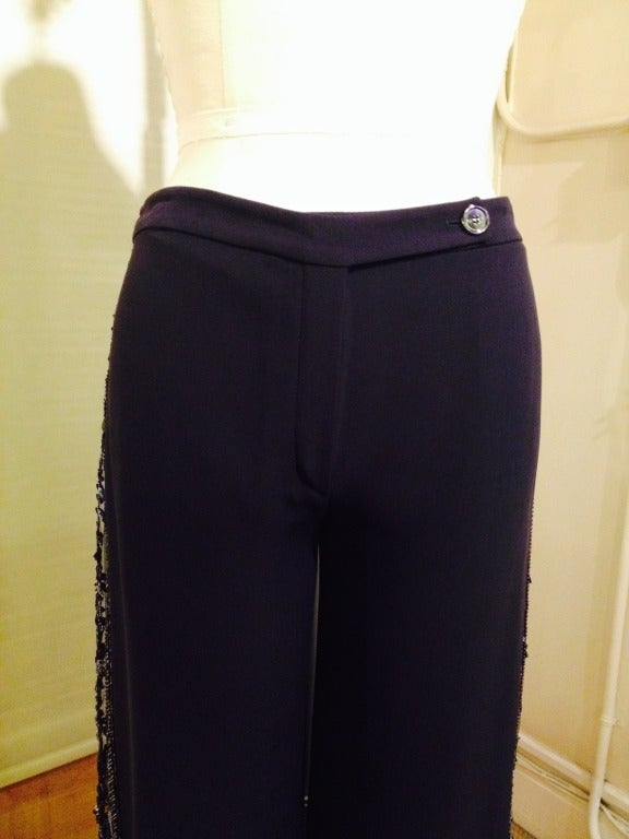 Valentino Navy Beaded Slacks In Excellent Condition For Sale In San Francisco, CA